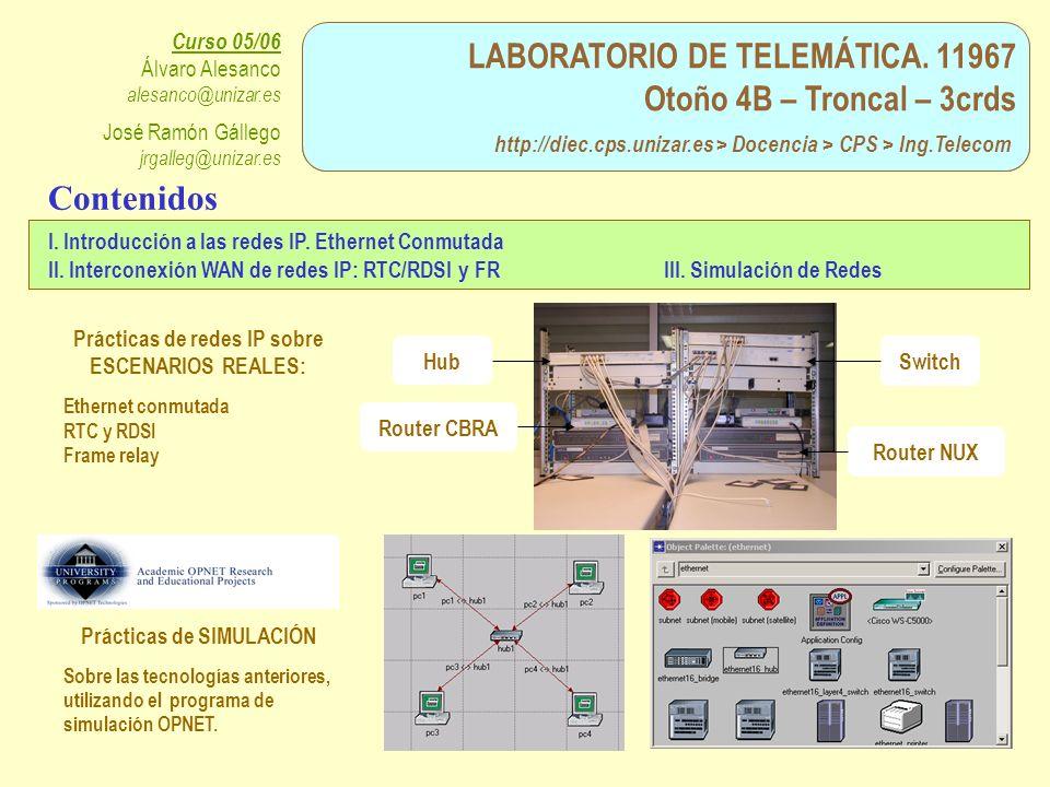 LABORATORIO DE TELEMÁTICA. 11967 Otoño 4B – Troncal – 3crds http://diec.cps.unizar.es > Docencia > CPS > Ing.Telecom Curso 05/06 Álvaro Alesanco alesa