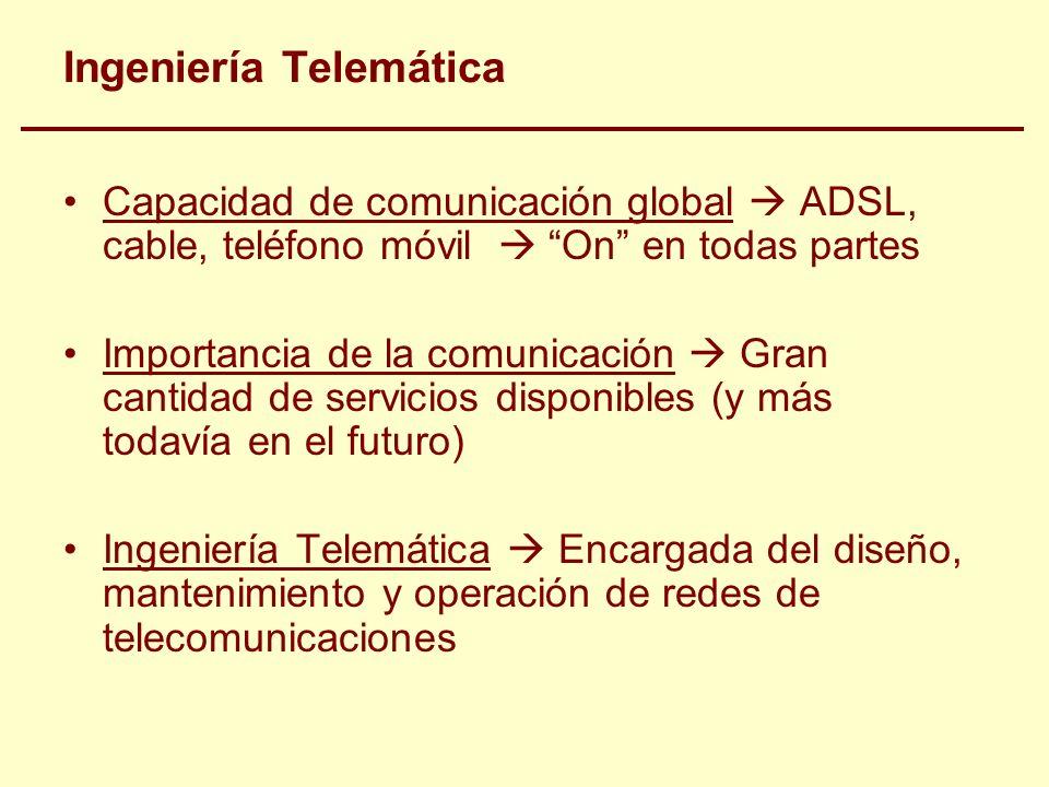 Ingeniería Telemática Capacidad de comunicación global ADSL, cable, teléfono móvil On en todas partes Importancia de la comunicación Gran cantidad de