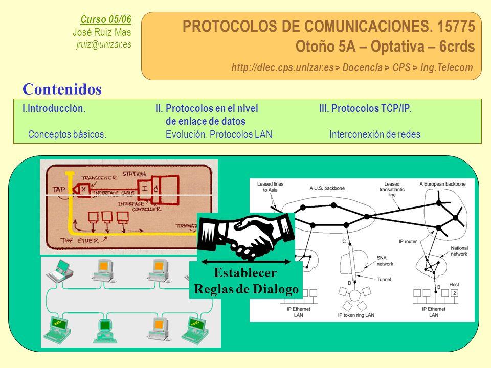 PROTOCOLOS DE COMUNICACIONES. 15775 Otoño 5A – Optativa – 6crds http://diec.cps.unizar.es > Docencia > CPS > Ing.Telecom Curso 05/06 José Ruiz Mas jru