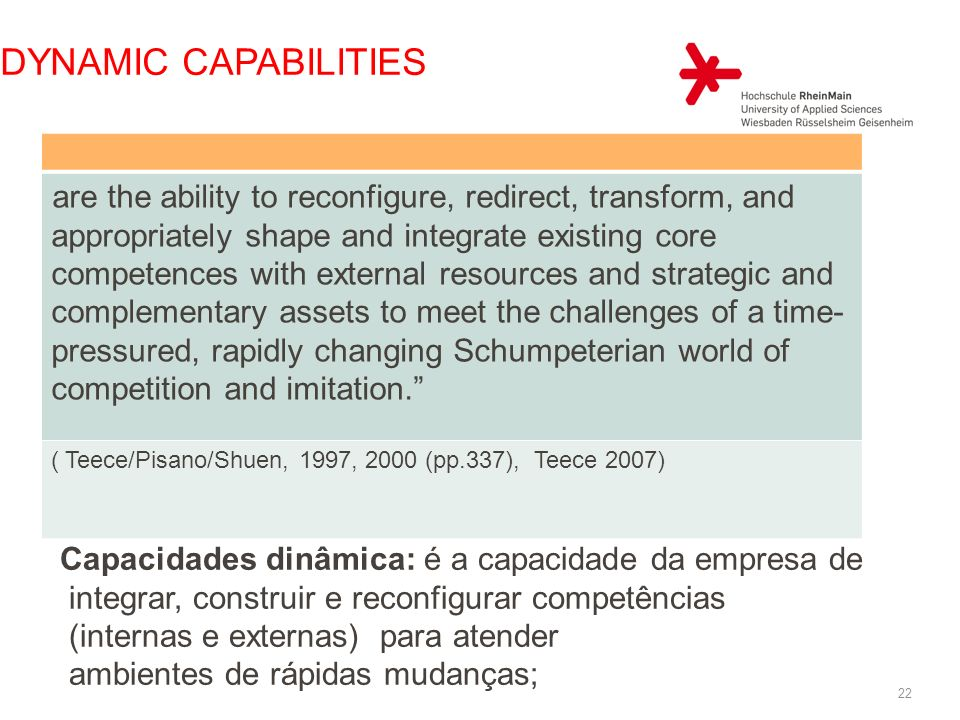 DYNAMIC CAPABILITIES are the ability to reconfigure, redirect, transform, and appropriately shape and integrate existing core competences with externa
