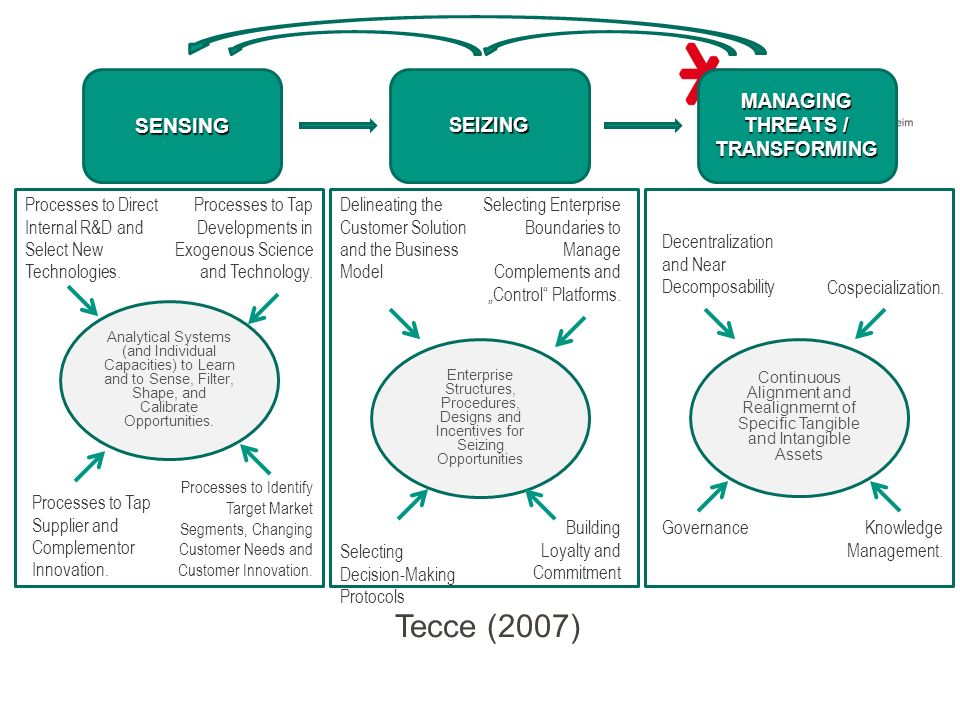 SENSINGSEIZING MANAGING THREATS / TRANSFORMING Governance Decentralization and Near Decomposability Knowledge Management. Cospecialization. Continuous