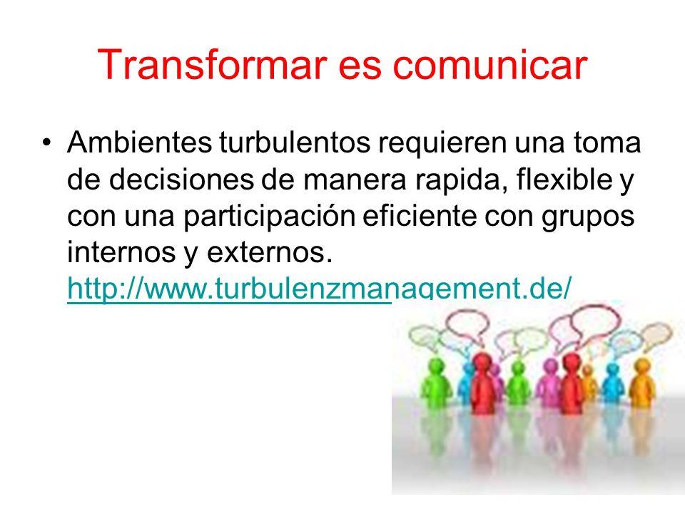Transformar es comunicar Ambientes turbulentos requieren una toma de decisiones de manera rapida, flexible y con una participación eficiente con grupo