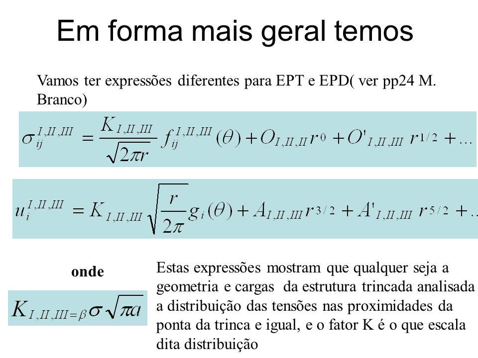 Em forma mais geral temos onde Estas expressões mostram que qualquer seja a geometria e cargas da estrutura trincada analisada a distribuição das tens