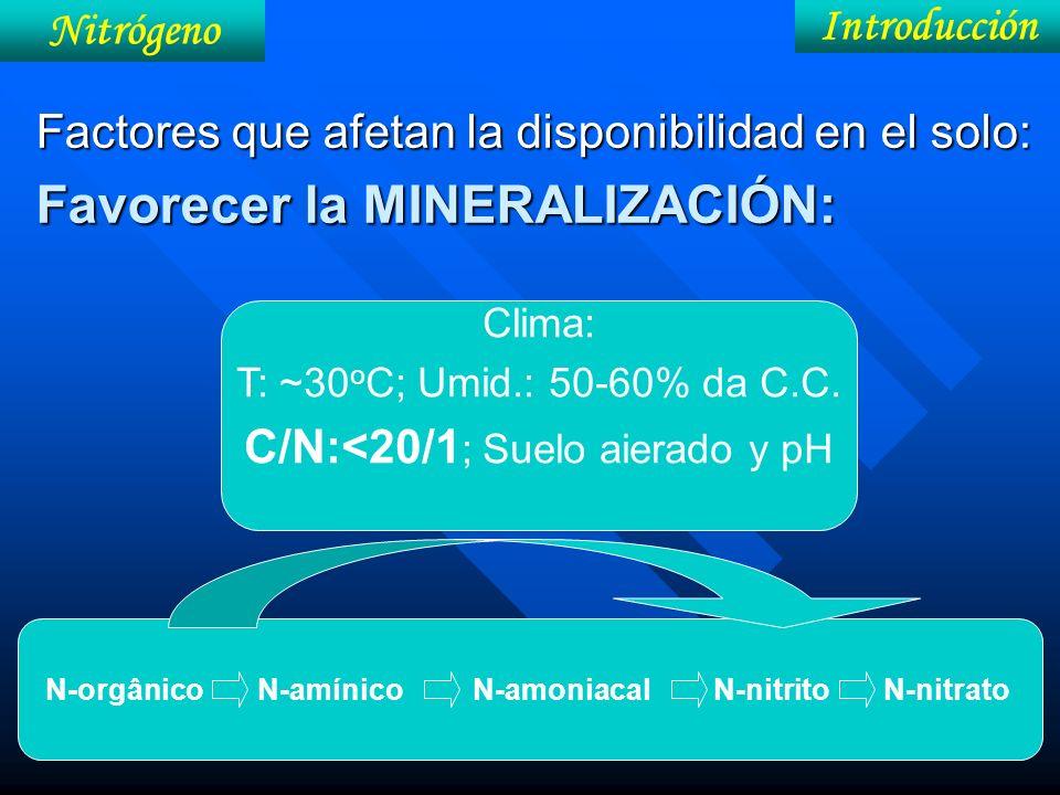 Factores que afetan la disponibilidad en el solo: Favorecer la MINERALIZACIÓN: N-orgânico N-amínico N-amoniacal N-nitrito N-nitrato Clima: T: ~30 o C;