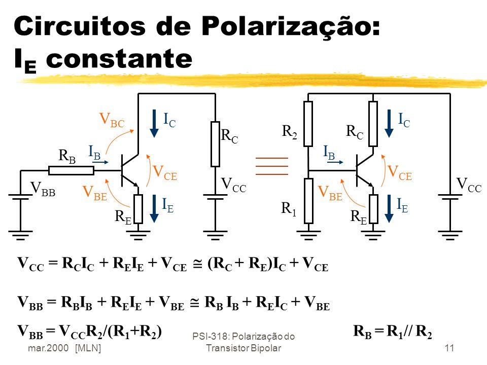 mar.2000 [MLN] PSI-318: Polarização do Transistor Bipolar11 Circuitos de Polarização: I E constante IBIB ICIC IEIE V BC V BE V CE IBIB ICIC IEIE V BE