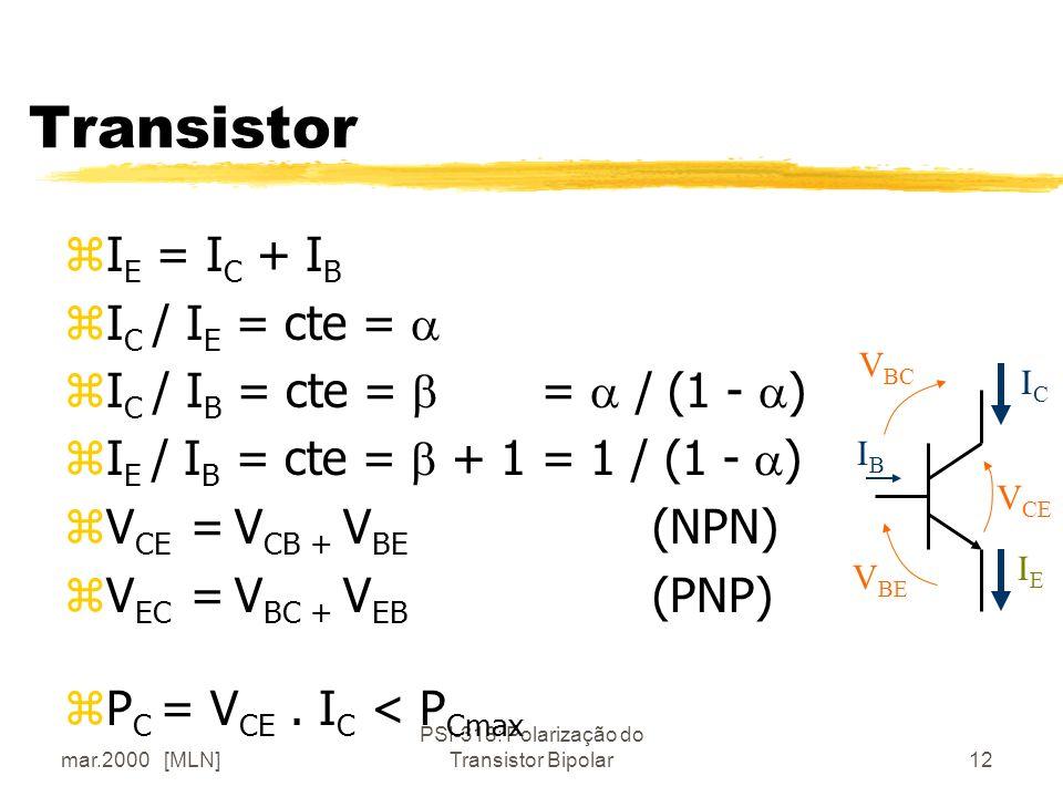 mar.2000 [MLN] PSI-318: Polarização do Transistor Bipolar12 Transistor zI E = I C + I B zI C / I E = cte = zI C / I B = cte = = / (1 - ) zI E / I B =