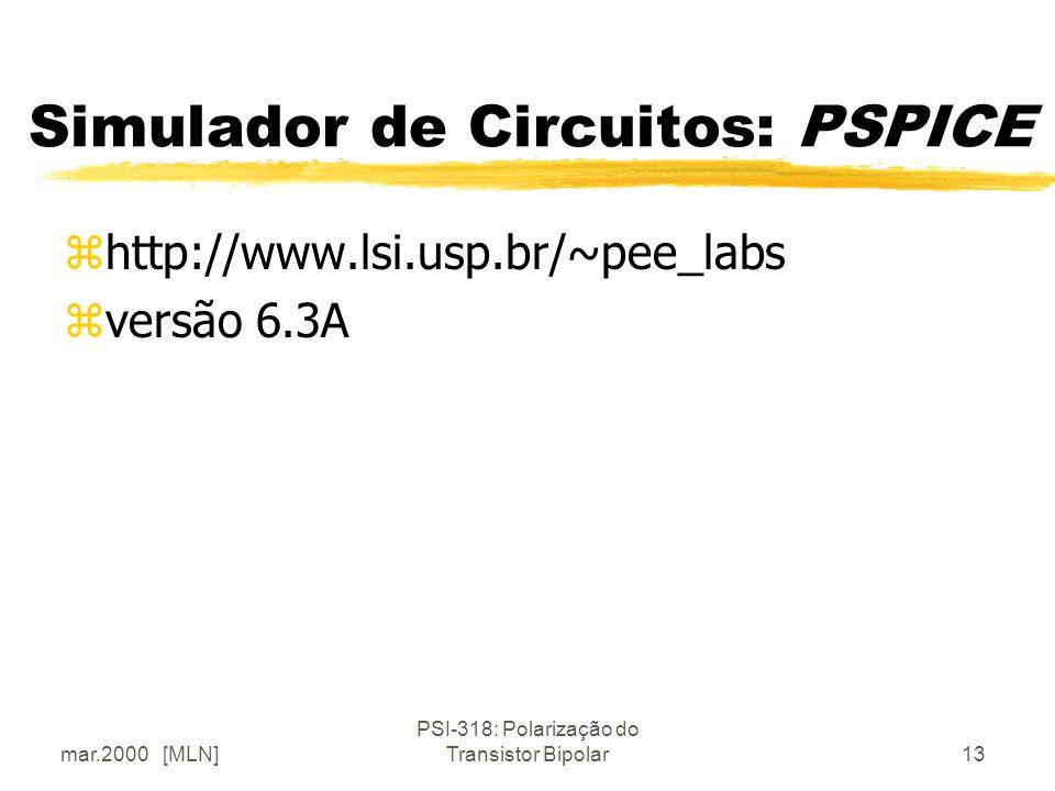mar.2000 [MLN] PSI-318: Polarização do Transistor Bipolar13 Simulador de Circuitos: PSPICE zhttp://www.lsi.usp.br/~pee_labs zversão 6.3A