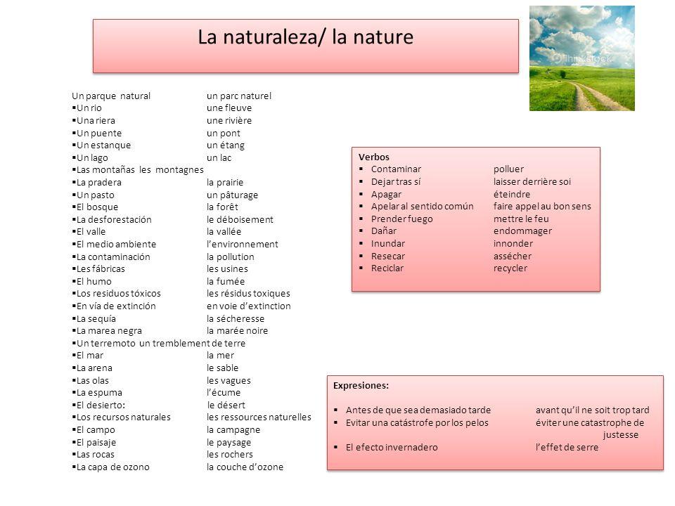 La naturaleza/ la nature Un parque naturalun parc naturel Un rioune fleuve Una rieraune rivière Un puenteun pont Un estanqueun étang Un lagoun lac Las
