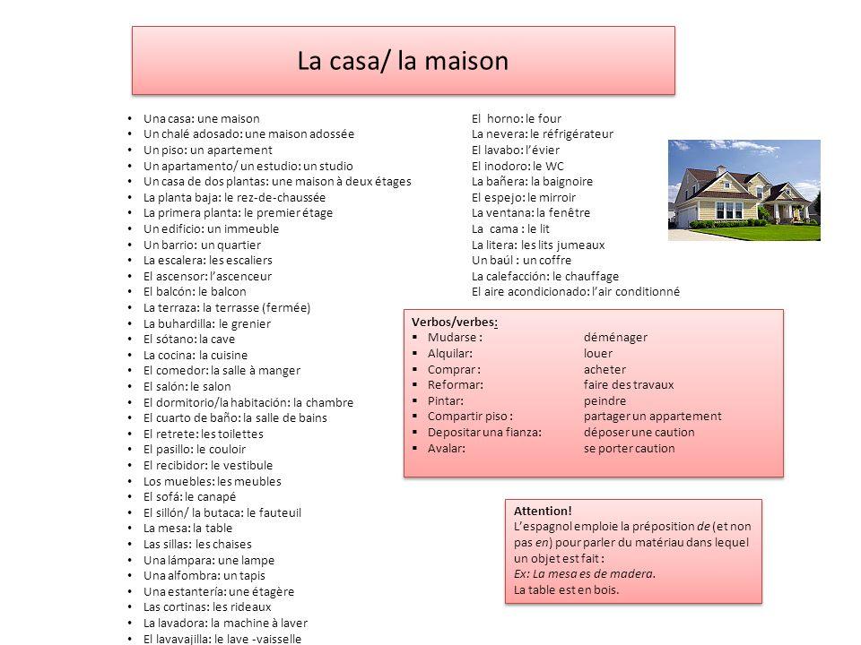 La casa/ la maison Una casa: une maisonEl horno: le four Un chalé adosado: une maison adosséeLa nevera: le réfrigérateur Un piso: un apartementEl lava
