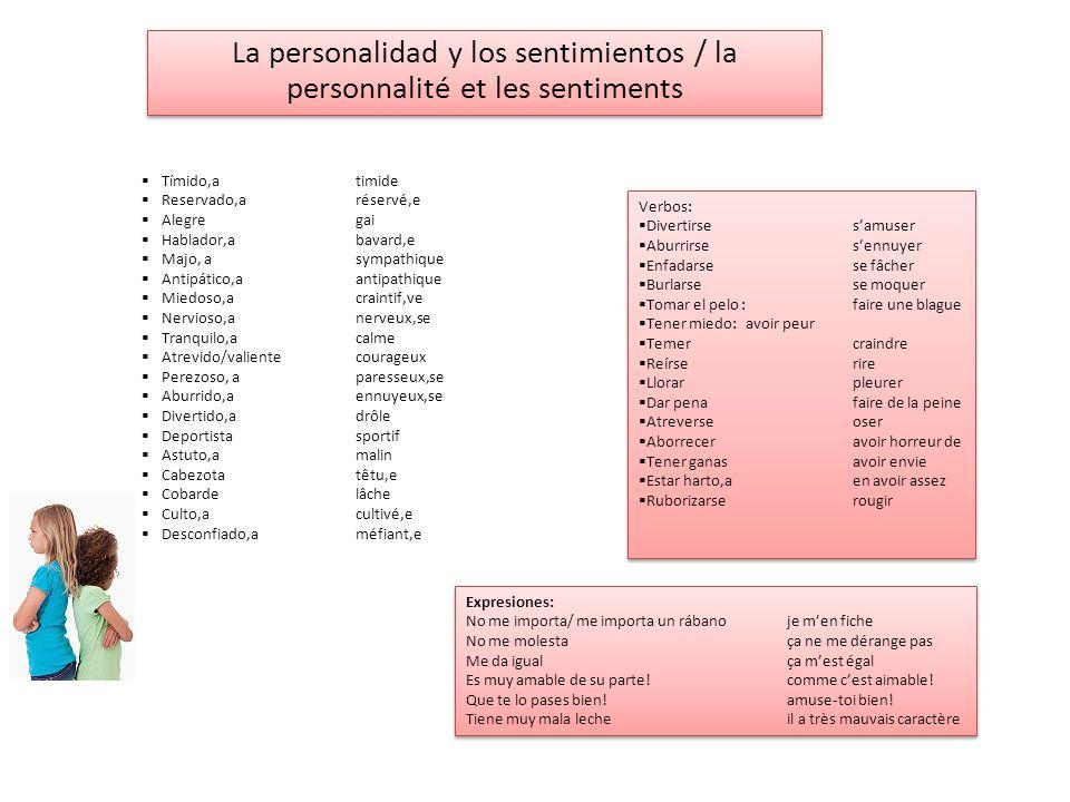 La personalidad y los sentimientos / la personnalité et les sentiments Tímido,atimide Reservado,aréservé,e Alegregai Hablador,abavard,e Majo, asympath