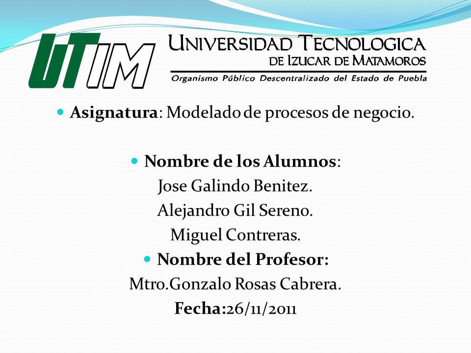 Asignatura: Modelado de procesos de negocio. Nombre de los Alumnos: Jose Galindo Benitez. Alejandro Gil Sereno. Miguel Contreras. Nombre del Profesor: