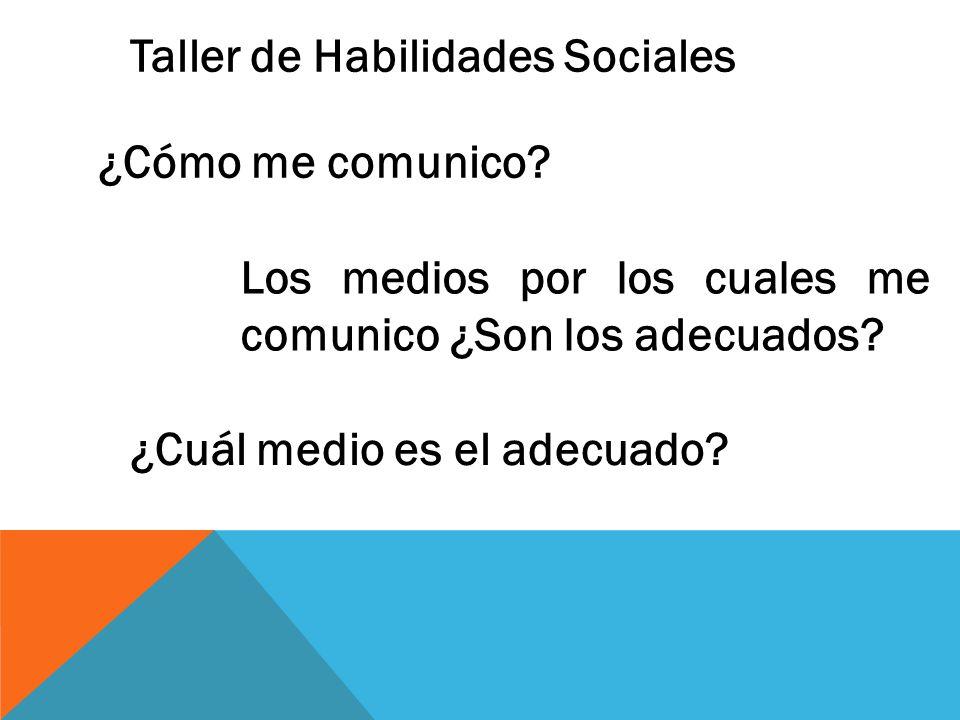 Taller de Habilidades Sociales ¿Cómo me comunico.