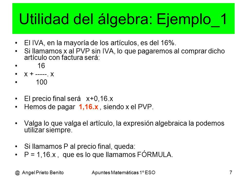@ Angel Prieto BenitoApuntes Matemáticas 1º ESO7 Utilidad del álgebra: Ejemplo_1 El IVA, en la mayoría de los artículos, es del 16%.