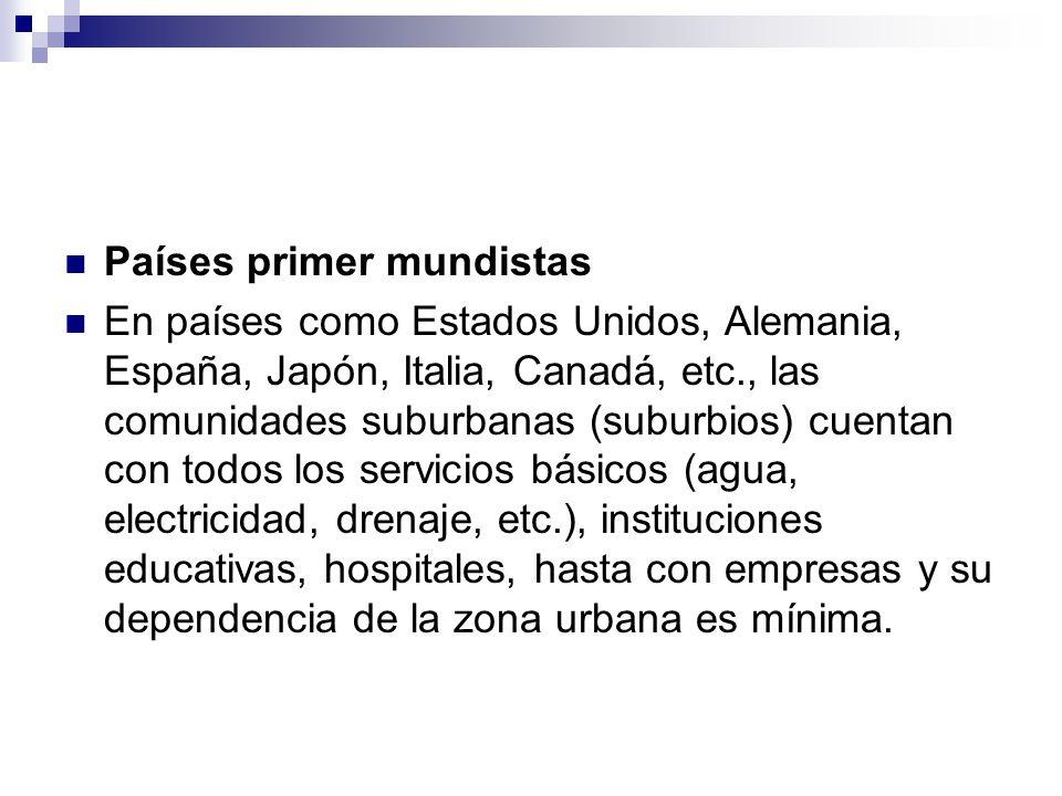 Países primer mundistas En países como Estados Unidos, Alemania, España, Japón, Italia, Canadá, etc., las comunidades suburbanas (suburbios) cuentan c