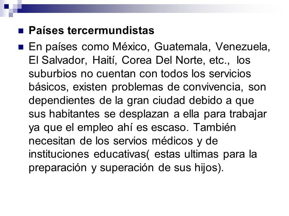 Países tercermundistas En países como México, Guatemala, Venezuela, El Salvador, Haití, Corea Del Norte, etc., los suburbios no cuentan con todos los