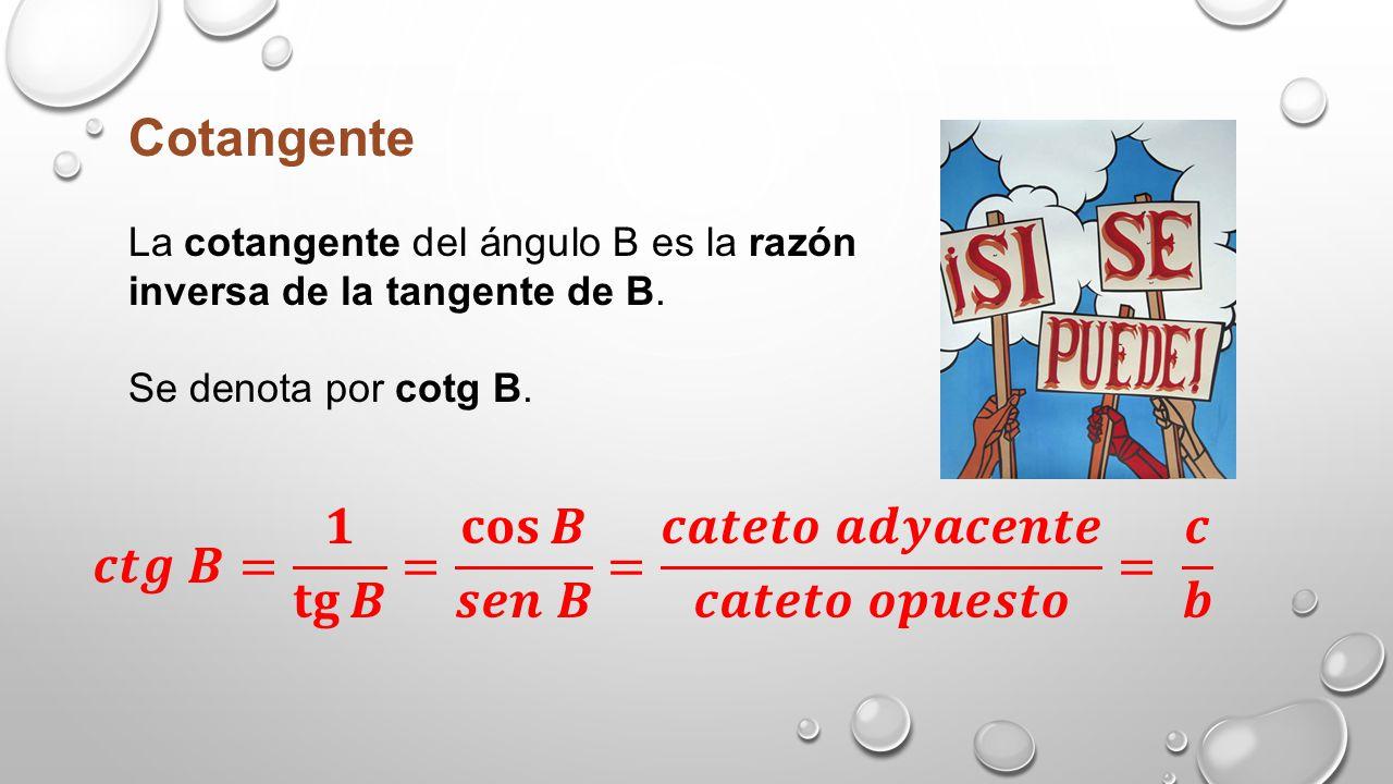 Secante La secante del ángulo B es la razón inversa del coseno de B. Se denota por sec B.