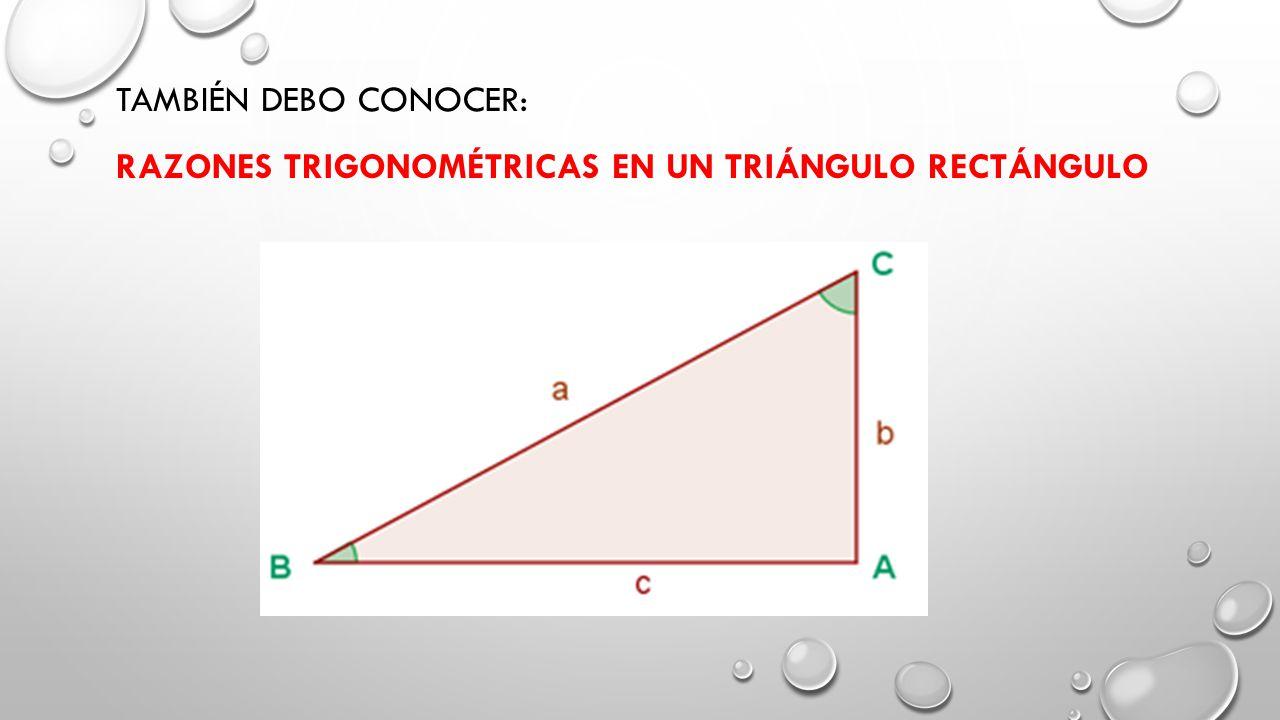 Seno El seno del ángulo B es la razón entre el cateto opuesto al ángulo y la hipotenusa.