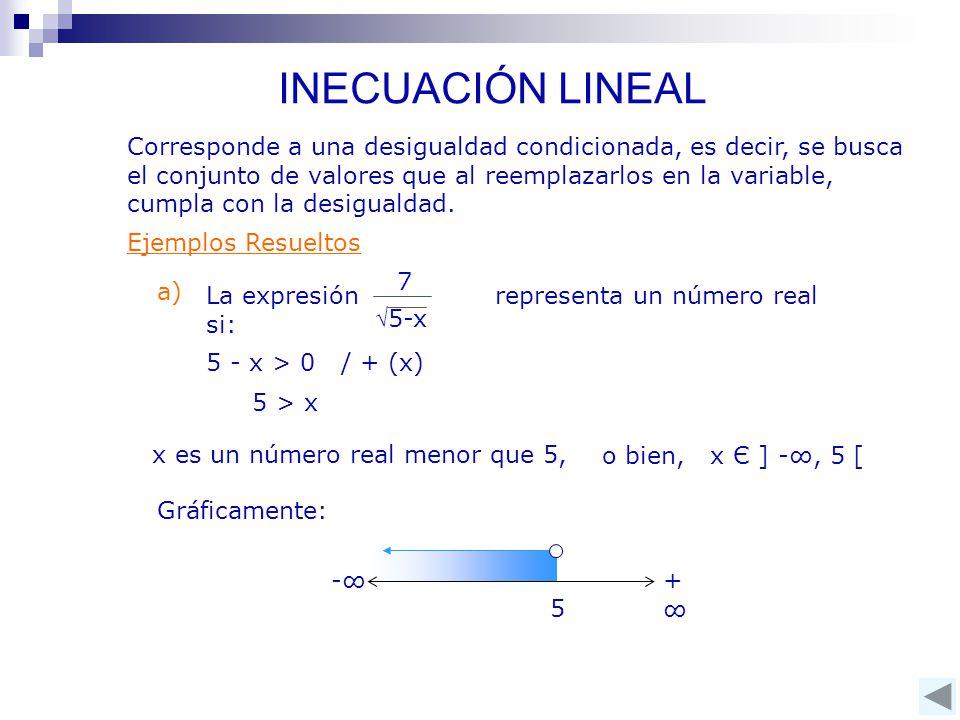 Corresponde a una desigualdad condicionada, es decir, se busca el conjunto de valores que al reemplazarlos en la variable, cumpla con la desigualdad.