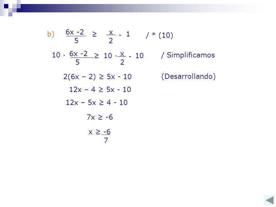 x 2 6x -2 5 ≥ 1 - / * (10) b) 6x -2 5 ≥ x 2 - 10 ∙10 10 ∙ 2(6x – 2) ≥ 5x - 10 12x – 4 ≥ 5x - 10 (Desarrollando) 12x – 5x ≥ 4 - 10 7 x ≥ -6 7x ≥ -6 / Simplificamos