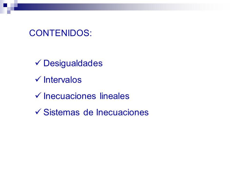 Desigualdades Intervalos Inecuaciones lineales Sistemas de Inecuaciones CONTENIDOS: