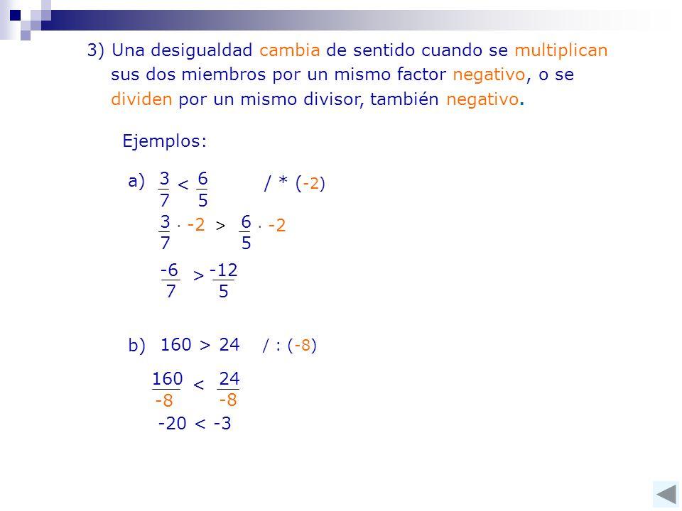 3) Una desigualdad cambia de sentido cuando se multiplican sus dos miembros por un mismo factor negativo, o se dividen por un mismo divisor, también negativo.