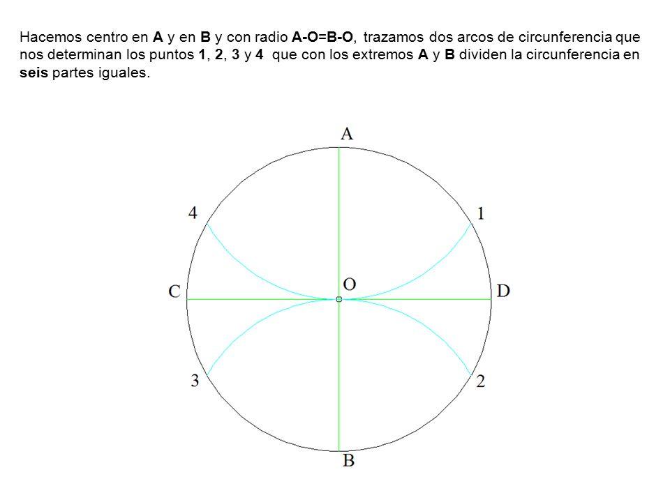 Hacemos centro en A y en B y con radio A-O=B-O, trazamos dos arcos de circunferencia que nos determinan los puntos 1, 2, 3 y 4 que con los extremos A y B dividen la circunferencia en seis partes iguales.