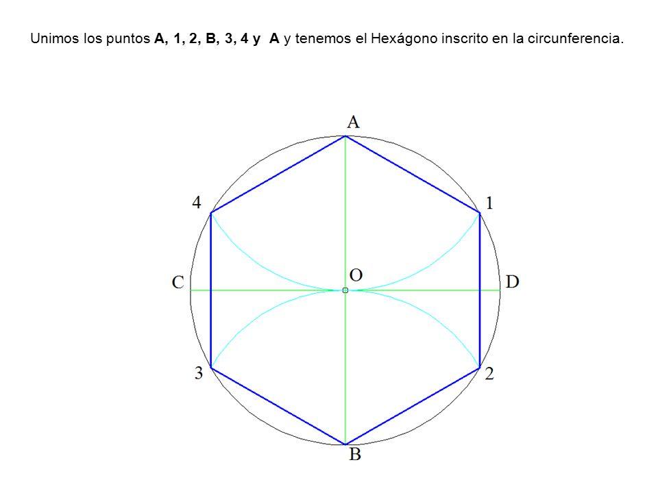 Unimos los puntos A, 1, 2, B, 3, 4 y A y tenemos el Hexágono inscrito en la circunferencia.