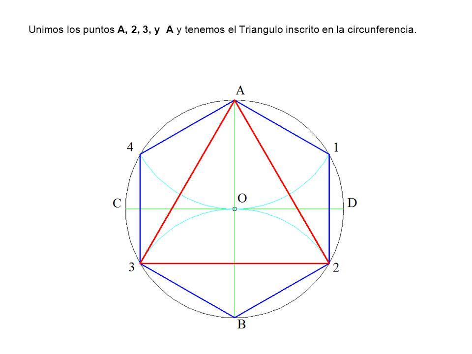 Unimos los puntos A, 2, 3, y A y tenemos el Triangulo inscrito en la circunferencia.