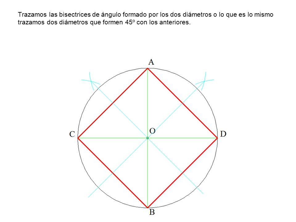 Trazamos las bisectrices de ángulo formado por los dos diámetros o lo que es lo mismo trazamos dos diámetros que formen 45º con los anteriores.