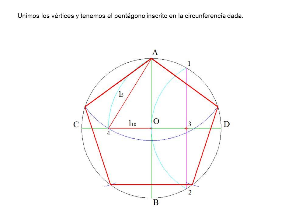 Unimos los vértices y tenemos el pentágono inscrito en la circunferencia dada.
