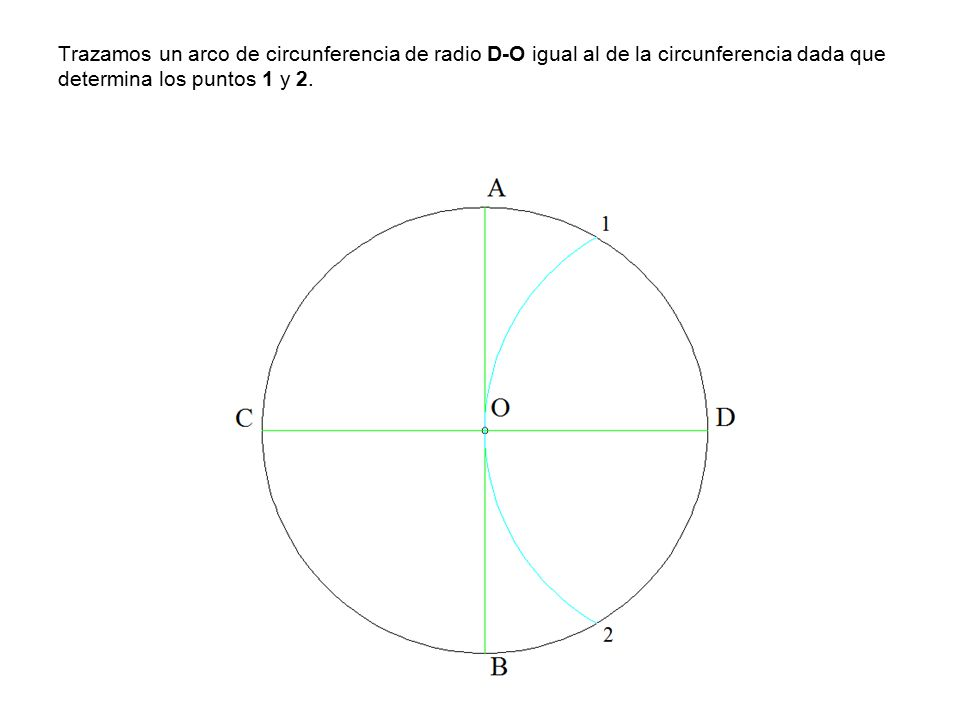 Trazamos un arco de circunferencia de radio D-O igual al de la circunferencia dada que determina los puntos 1 y 2.