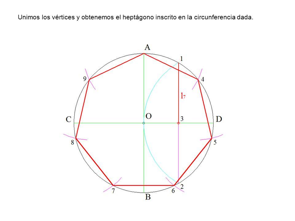 Unimos los vértices y obtenemos el heptágono inscrito en la circunferencia dada.