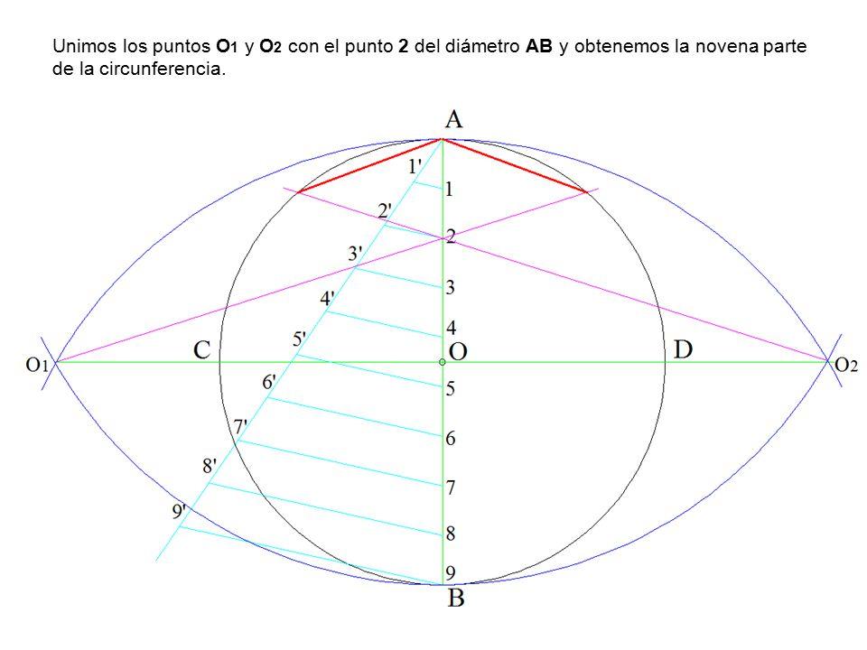 Unimos los puntos O 1 y O 2 con el punto 2 del diámetro AB y obtenemos la novena parte de la circunferencia.