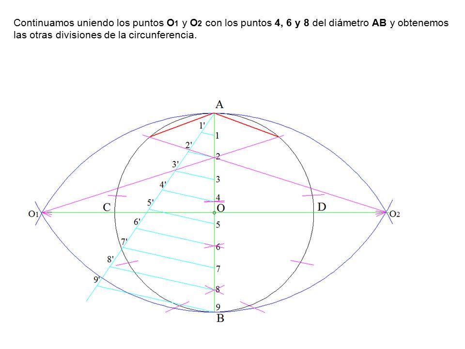 Continuamos uniendo los puntos O 1 y O 2 con los puntos 4, 6 y 8 del diámetro AB y obtenemos las otras divisiones de la circunferencia.