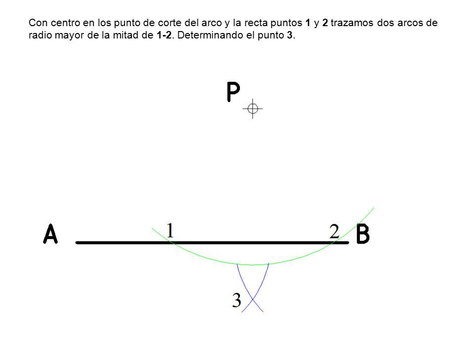 Con centro en los punto de corte del arco y la recta puntos 1 y 2 trazamos dos arcos de radio mayor de la mitad de 1-2.