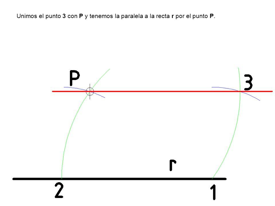 Unimos el punto 3 con P y tenemos la paralela a la recta r por el punto P.
