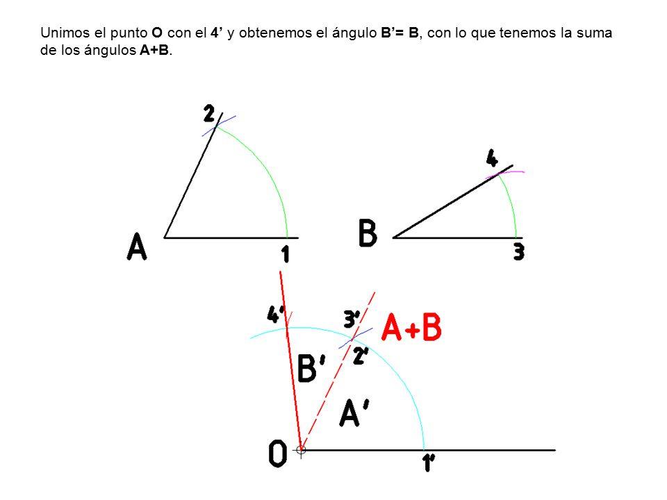 Unimos el punto O con el 4' y obtenemos el ángulo B'= B, con lo que tenemos la suma de los ángulos A+B.