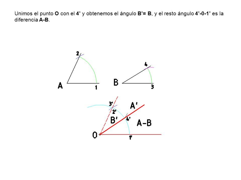Unimos el punto O con el 4' y obtenemos el ángulo B'= B, y el resto ángulo 4'-0-1' es la diferencia A-B.