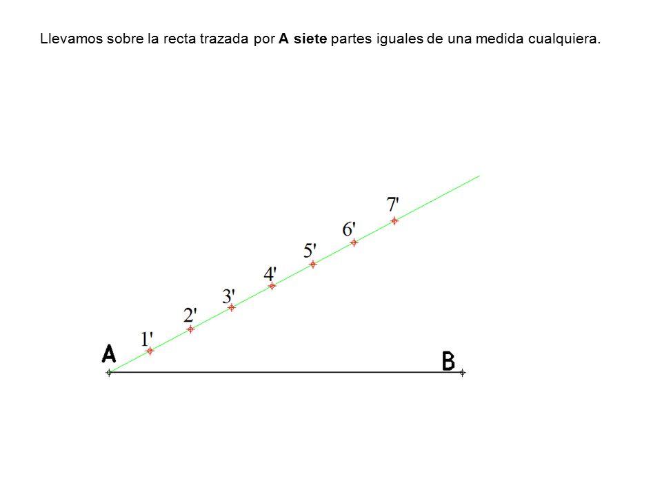 Llevamos sobre la recta trazada por A siete partes iguales de una medida cualquiera.