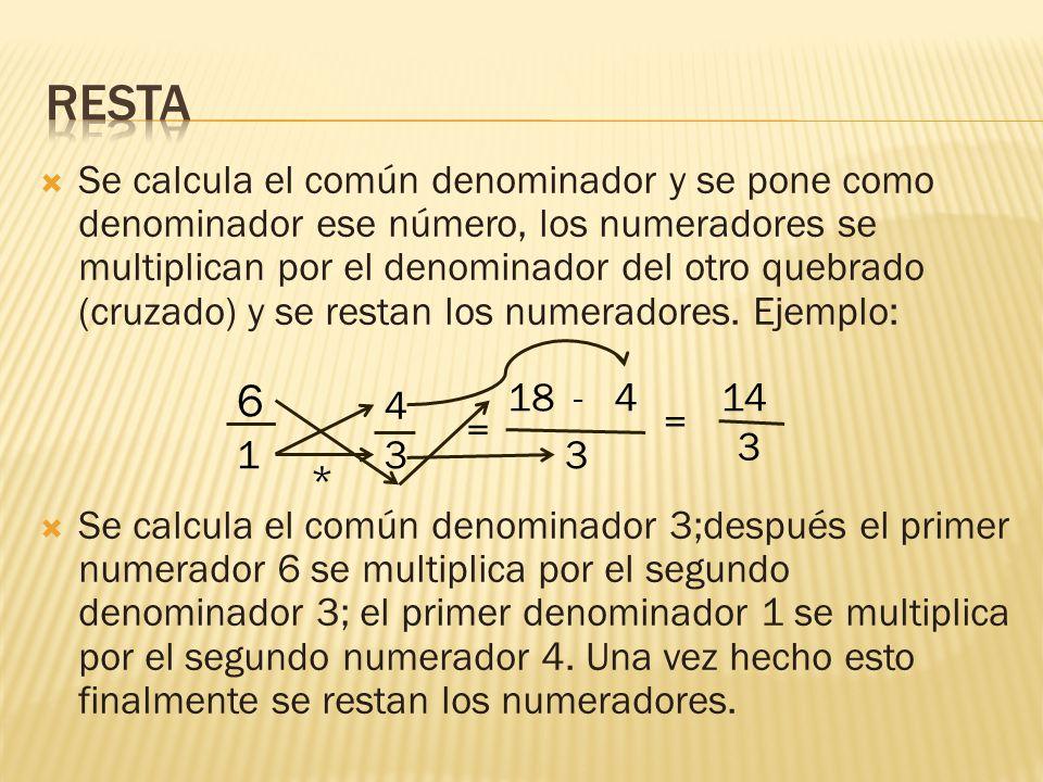  Se calcula el común denominador y se pone como denominador ese número, los numeradores se multiplican por el denominador del otro quebrado (cruzado) y se restan los numeradores.