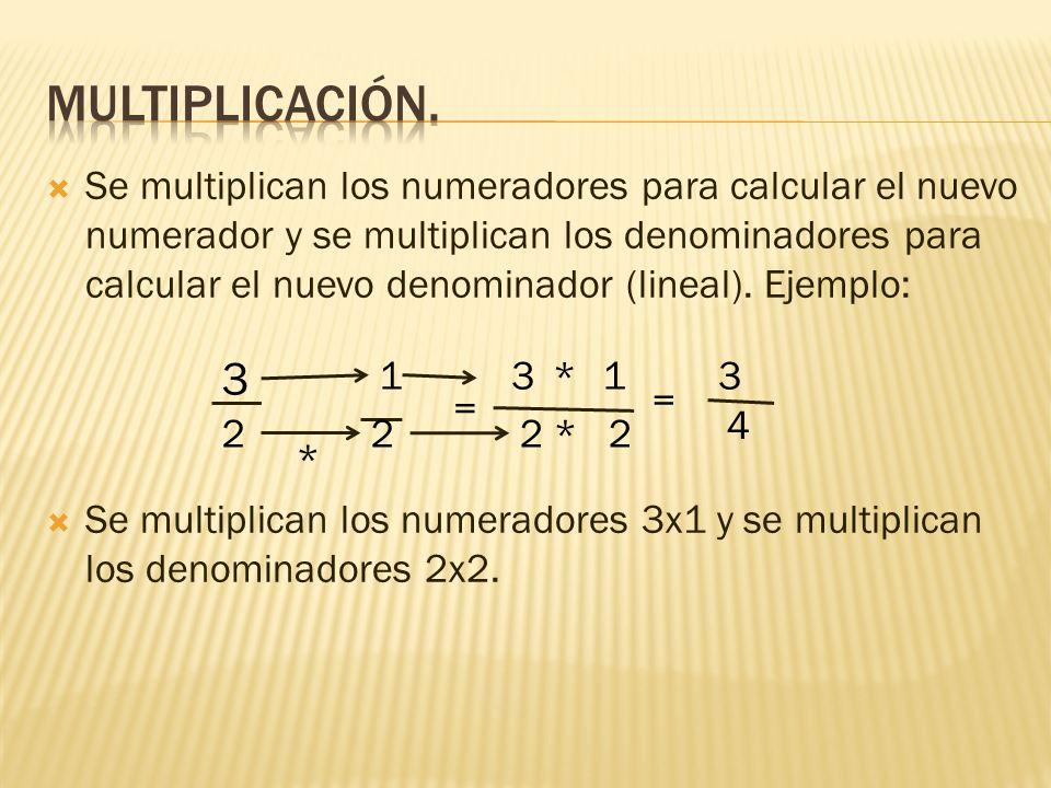  Se multiplican los numeradores para calcular el nuevo numerador y se multiplican los denominadores para calcular el nuevo denominador (lineal).