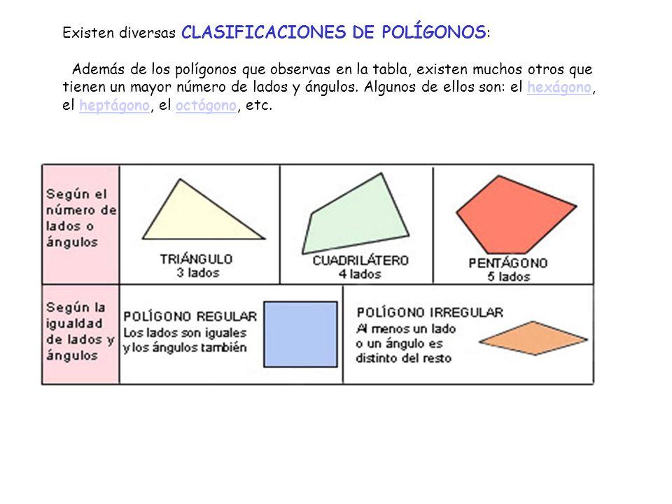 Existen diversas CLASIFICACIONES DE POLÍGONOS : Además de los polígonos que observas en la tabla, existen muchos otros que tienen un mayor número de lados y ángulos.