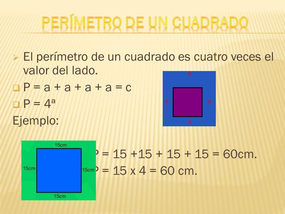  El perímetro de un cuadrado es cuatro veces el valor del lado.