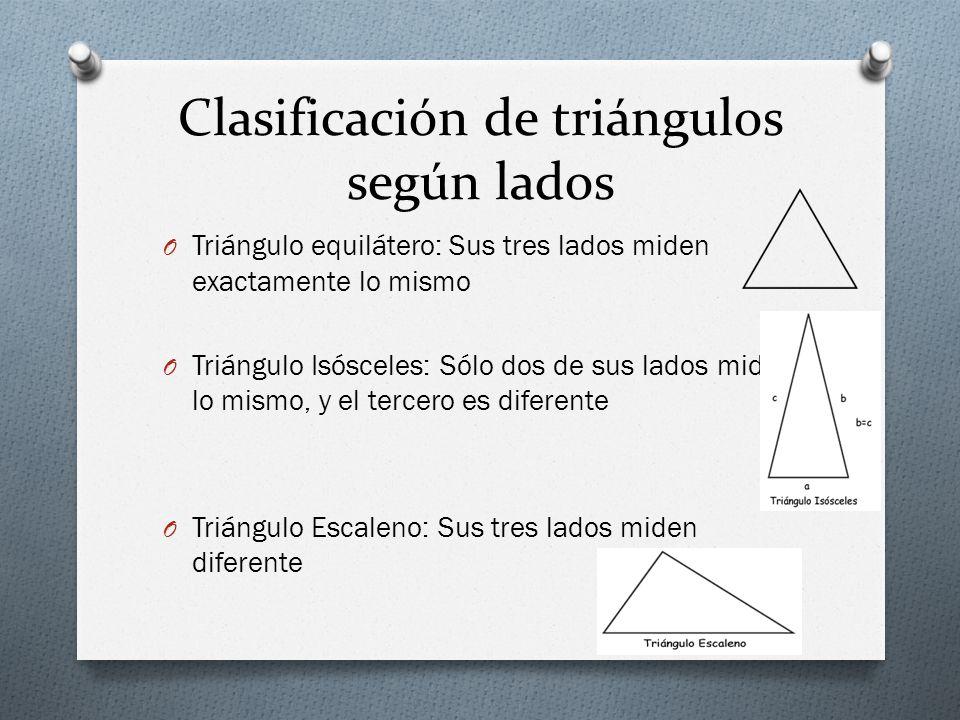 Clasificación de triángulos según lados O Triángulo equilátero: Sus tres lados miden exactamente lo mismo O Triángulo Isósceles: Sólo dos de sus lados miden lo mismo, y el tercero es diferente O Triángulo Escaleno: Sus tres lados miden diferente