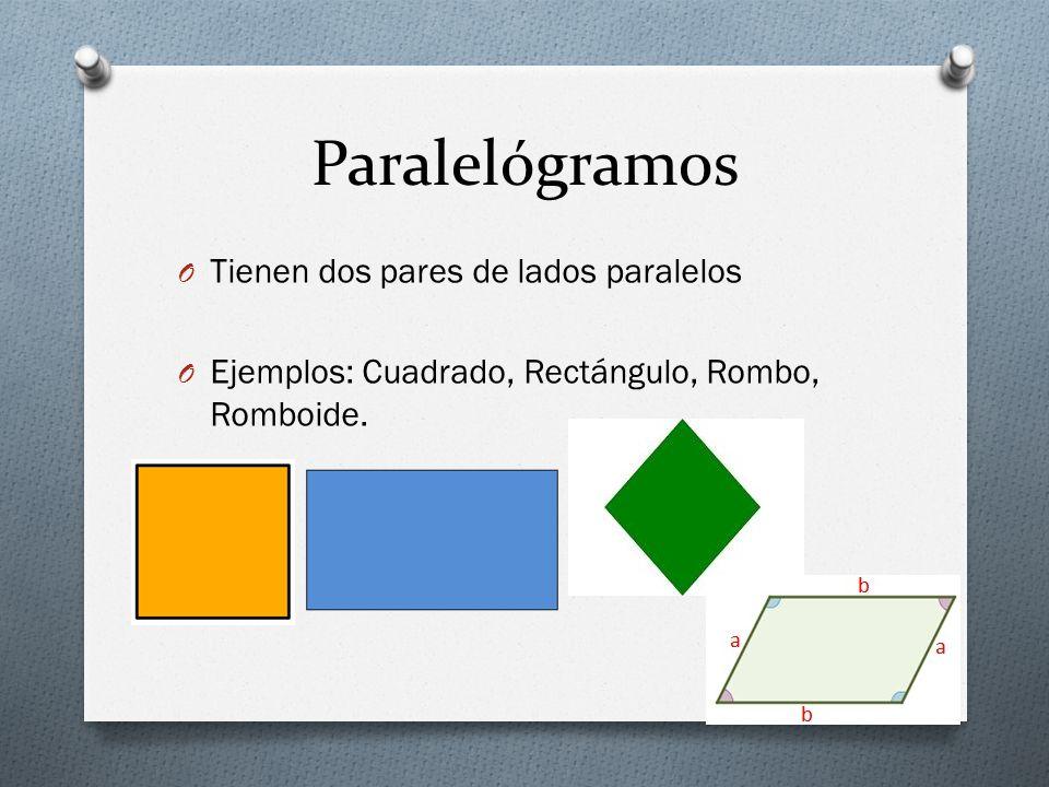 Paralelógramos O Tienen dos pares de lados paralelos O Ejemplos: Cuadrado, Rectángulo, Rombo, Romboide.