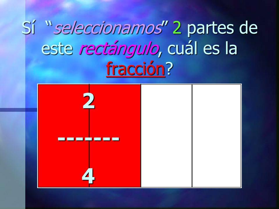 """Sí """"seleccionamos"""" 2 partes de este rectángulo, cuál es la fracción?"""