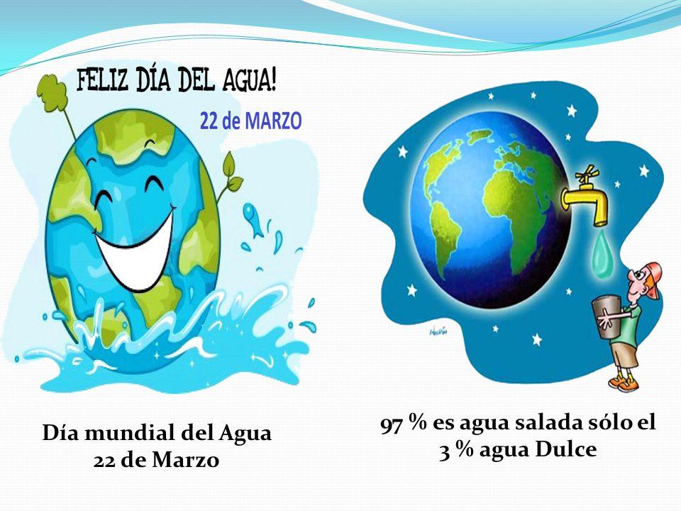Día mundial del Agua 22 de Marzo 97 % es agua salada sólo el 3 % agua Dulce