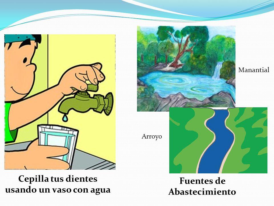 Cepilla tus dientes usando un vaso con agua Manantial Arroyo Fuentes de Abastecimiento