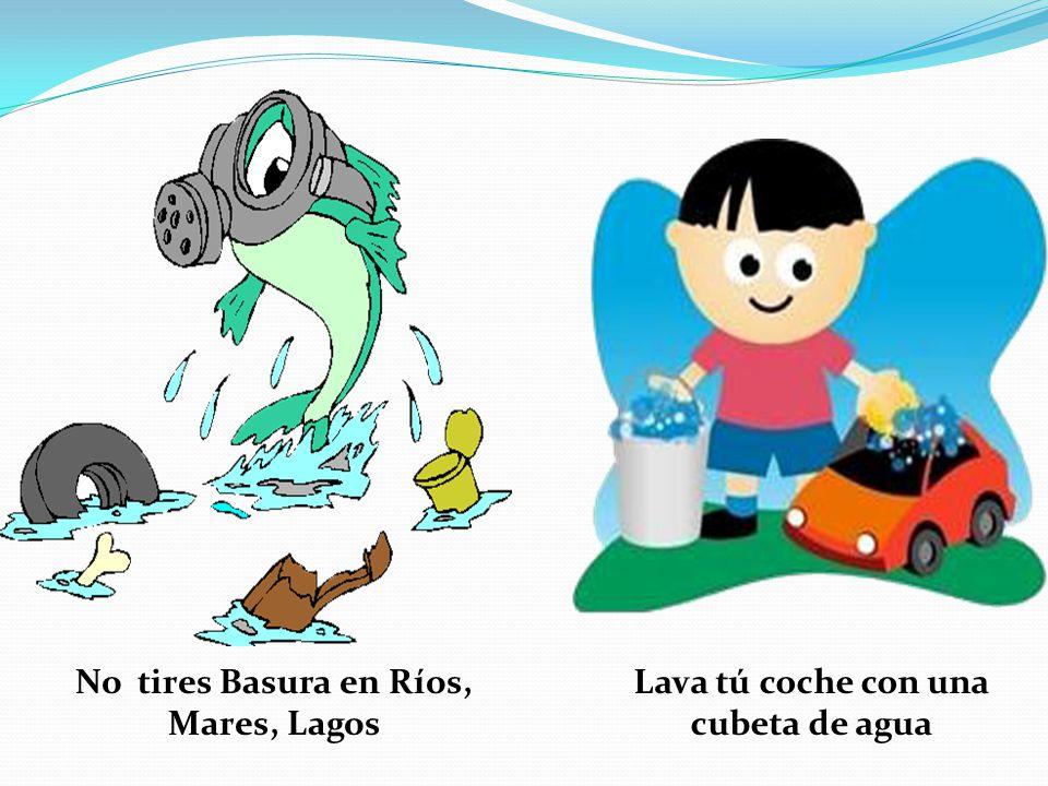 Lava tú coche con una cubeta de agua No tires Basura en Ríos, Mares, Lagos