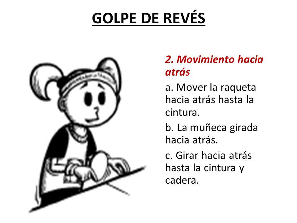GOLPE DE REVÉS 2.Movimiento hacia atrás a. Mover la raqueta hacia atrás hasta la cintura.